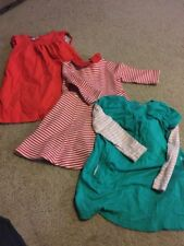 Mini Boden Girls Red Stripe Green Lot Dress Size 3-4y