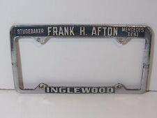 RARE Inglewood Frank Afton Studebaker License Plate Frame Embossed Holder Tag MB