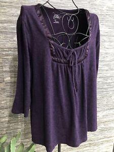 1X Plus Floral Purple top 3/4 sleeve blouse stretch cotton #100