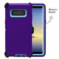 Purple Teal For Samsung Galaxy Note 8 Defender Rugged Case Cover with Clip