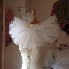 Victorian Edwardian Circus Costume Neck Ruff Showgirl Collar Ivory Ruffle White