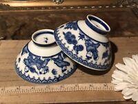 "2 Asian Porcelain Blue & White Children Playing Butterflies Rice Bowls 4 3/4""x2"""