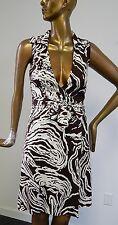 Diane Von Furstenberg Vintage 100% Silk Brown Ivory Sleeveless Wrap Dress sz 10