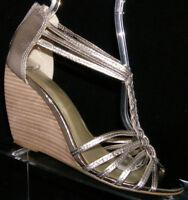 Seychelles silver metallic leather t-strap braided zip strappy wedge heel 8M