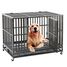 "Heavy Duty 48"" Folding Dog Cage Crate Kennel Pet Playpen House Metal Tube w/Tray"