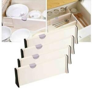 4pcs Adjustable Drawer Dividers Organizer Kitchen Lipper Expandable Tool PVC