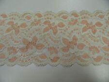 Cinta de encaje elástico aprox. 13cm de ancho cada 50cm beige / ALBARICOQUE