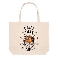 Crazy Tiger Lady Stars Large Beach Tote Bag - Funny Animal Shopper Shoulder
