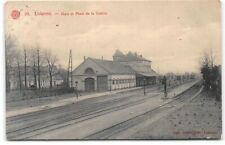 Belgium-Lokeren-East Flanders-Train Station-La Gare-Square-Antique Postcard