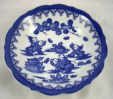 Asian Blue White Porcelain Five Children Chasing Butterflies Scene Bowl Japan