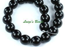 12 Czech Glass Round Druk Beads Jet Black 12mm