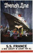 """""""S.S. FRANCE / FRENCH LINE"""" Affiche originale entoilée 1960 B. PEAK 79x120cm"""