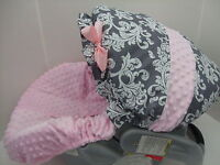 NEW GRAY&WHITE DAMASK/PINK MINKY INFANT CAR SEAT COVER/GRACO fit & custom