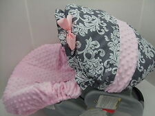 NEW GRAY&WHITE DAMASK/PINK MINKY INFANT CAR SEAT COVER/BABY TREND