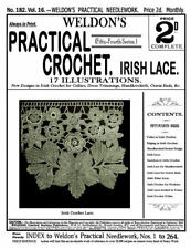 Weldon's 2D #182 c.1900 Vintage Crochet Patterns for Fancy Irish Lace Work