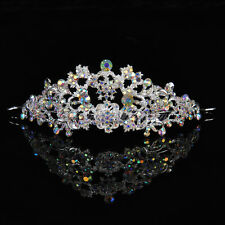 Bridal Colour Diamate Crystal Crown Wedding Prom Party Pageant Tiara Hairpieces