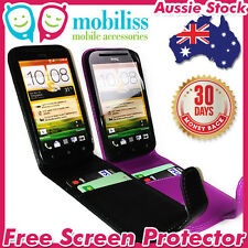PU Leather Flip Pouch Case Credit Card Slots for HTC One SV Black Purple + SC
