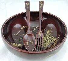 JAPANESE LACQUER BOWL SPOON FORK SERVING SET GOLD SCENIC DECOR LACQUERWARE