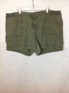 """Faded Glory Plus 22W Linen Blend Shorts Faded Olive Green Waist 46"""""""