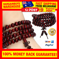 Natural Sandalwood Buddhist Buddha Meditation Wood Prayer Bead Mala Bracelet