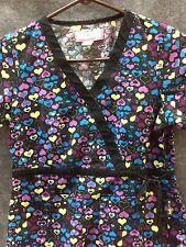 Koi Womens Scrub Top XS Hearts Uniform Blouse Kathy Peterson