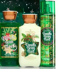 Bath & Body Works VANILLA BEAN NOEL Body Lotion Shower Gel Fragrance Mist Set 3