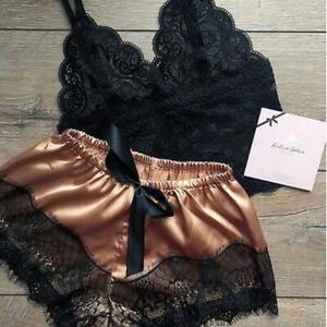 2pcs  Women  Satin Lace Sleepwear Babydoll Nightdress Sexy Lingerie Pajamas Set