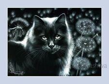 Gato Negro Impresión Diente de León sueños By Irina garmashova