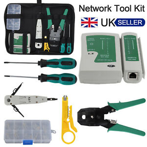 Ethernet Network Repair Kit RJ45 LAN Cable Tester Cutter Crimping Punch Tool Set