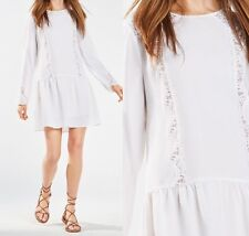 $338 NWT BCBG MAXAZRIA Jayn Lace-Trim Dress White Size XS 2 4