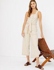 M&S Pure Cotton Ecru Belted Denim Cropped Jumpsuit-Size 8 -BNWT