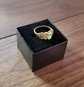 BEAUTIFUL DESIGNER GOLD/SILVER RING WITH EMERALDS & DIAMONDS - PERFECT GIFT IDEA