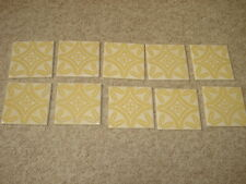 "VINTAGE ANTIQUE WENCZEL CERAMIC TILE DESIGN BEIGE CREAM SET OF 10 4 3/8"" SQUARE"