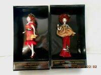 NIB Ladies w/Elegance Collection 2 Red Hair Blown Glass Christmas Ornaments w2s9