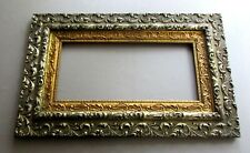 ANTIQUE Wood & Gesso AESTHETIC Silver & Gold PICTURE FRAME circa 1880