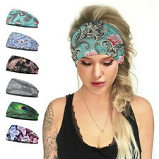 Boho Wide Elastic Stretchy Headband HairBand for Running Fitness Sports Unisex