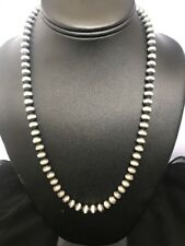 Native American Sterling Silver 7 mm Navajo Pearls Bead Necklace  20 Inch