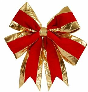 """Large Xmas Vickerman 24"""" x 30"""" Red Structured Bow with Gold Trim New w/ Tags!"""