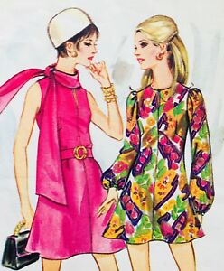 Vintage 1960's BUTTERICK BOUTIQUE MINI DRESS & SCARF Sewing Pattern (B5650)