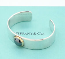 TIFFANY&Co Hematite Cuff Bracelet 18k Gold & Silver 925 Bangle w/BOX v1456