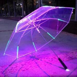 New LED Luminous Transparent Umbrella Clear Dome Parasol Rain Child Adult Gift