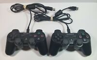 Lot of 2 OEM Sony Playstation 3 PS3 Black Sixaxis DualShock Controllers - Tested