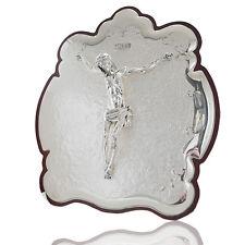 Pannello bacarat cm 33x30 da muro da tavolo con cristo in argento 925