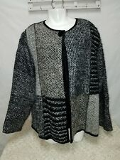 Cold Water Creek womans large jacket casual career gray black white