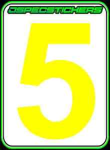 CAMS RACE CAR NUMBER DAY GLO YELLOW #5 DRIFT RALLY CIRCUIT RACING MOTORSPORT