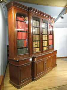 LARGE 19TH CENTURY ANTIQUE MID VICTORIAN MAHOGANY BREAKFONT BOOKCASE