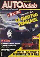 AUTO HEBDO n°508 05/2/1986 405 4x4 BMW325i 4x4