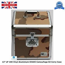 "NEO Aluminum KHAKI Camouflage Storage DJ Carry Case for 100 Vinyl LP 12"" Records"