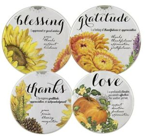 Set of 4 New Fall Thanksgiving Theme Electric Stove Burner Covers Blessing Love