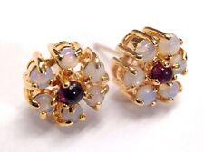Natural Opal and Garnet Flower 14K Gold Post Earrings